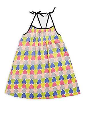 Little Girl's Heart-Print Strappy Dress