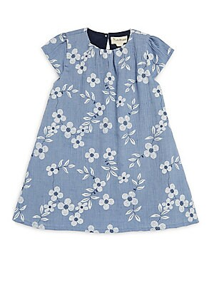 Little Girl's Chambray Floral A-Line Dress