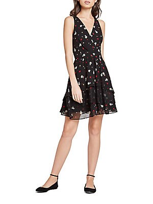 Falling Daisy-Print Flared Dress