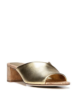 Faleria Metallic Leather Cork Block-Heel Mules