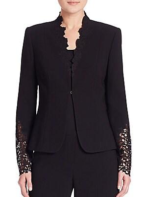Corrian Lace Cutout Sleeve Jacket