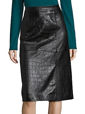 Seminca Croc-Embossed Leather Skirt