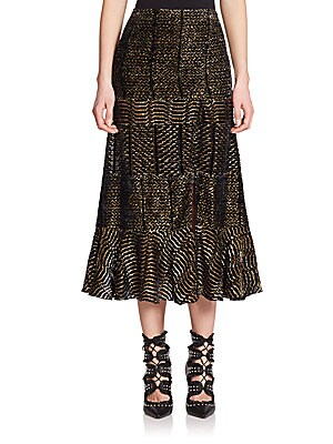 Faulk Tibetan Wave Devoré Midi Skirt