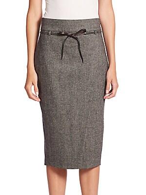 Chevron Tweed Front-Slit Skirt