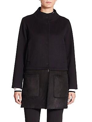 Shearling-Hem Wool & Cashmere Coat
