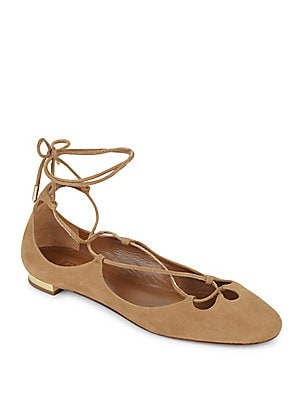 Dancer Lace-Up Suede Flats