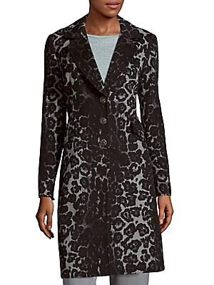 Leopard Printed Wool Coat