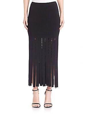 Slashed Fringe Midi Skirt