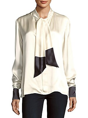 Two-Tone Silk Blouse