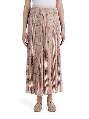 Geometric-Print Pleated Skirt