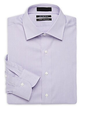 Slim-Fit Checked Long-Sleeve Dress Shirt