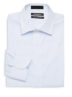 Slim-Fit Striped Long-Sleeve Dress Shirt