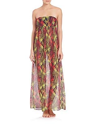 Palm Print Vedetta Cotton & Silk Smocked Dress