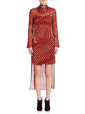 Zebra Print Masai Collar Silk Dress