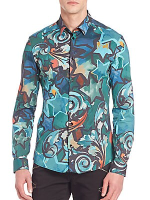 Slim-Fit Painted Star Baroque Woven Shirt