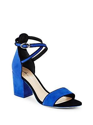 Suede Open-Toe Block-Heel Sandals