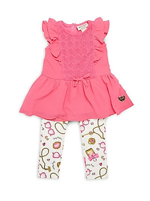 Baby's Two-Piece Ruffled Dress & Leggings Set