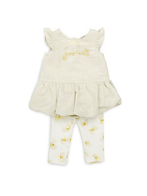 Baby's Two-Piece Pleated Balloon-Hem Dress & Leggings Set