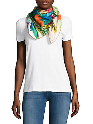 Jungle-Printed Silk Scarf