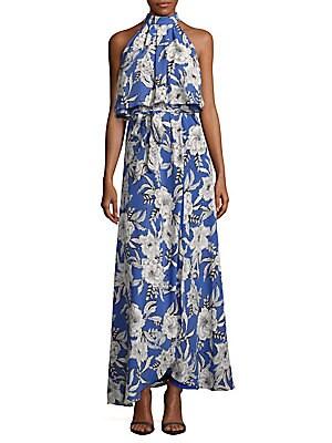 Floral-Print Sleeveless Popover Dress