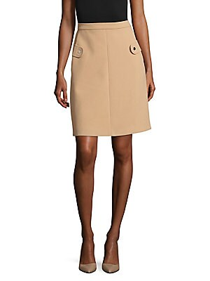 Solid Snap-Button Skirt