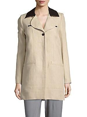 Notch Collar Linen Jacket