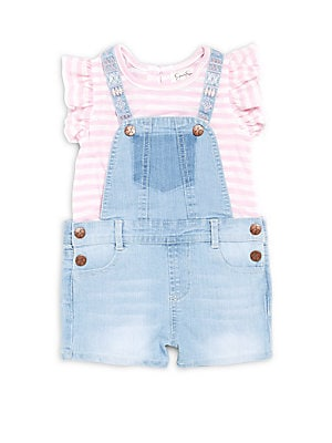 Baby's Two-Piece Striped Top & Denim Overall Set