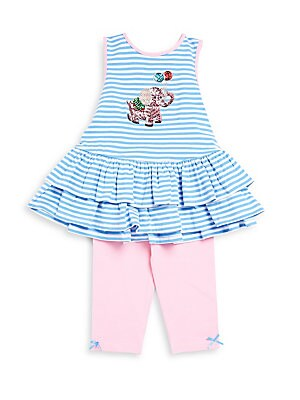 Little Girl's Embellished-Front Dress and Capri