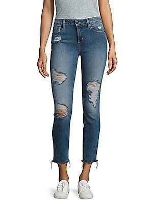 Frayed-Hem Cropped Jeans