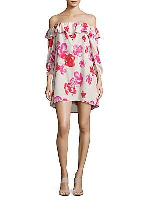 Rose-Print Off-The-Shoulder Dress