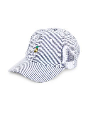 Embroidered Seersucker Cap