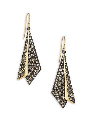 Crystal-Encrusted Origami Earrings