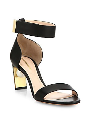 Maeva Pearly Heel Leather Ankle-Strap Sandals