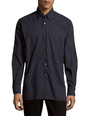 Floral Cotton Casual Button-Down Shirt Canali