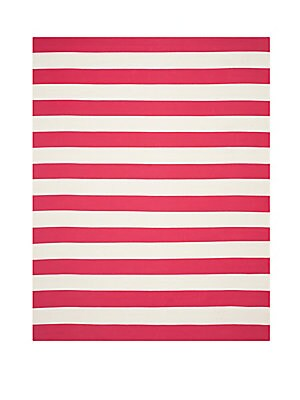 Montauk Striped Red & White Cotton Rug