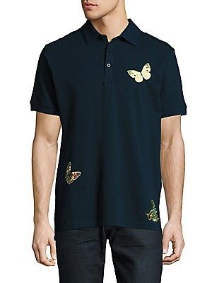 Butterfly Embroidered Cotton Polo