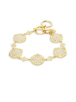 Classic 14K Gold-Plated Sterling Silver Pave Disc Bracelet
