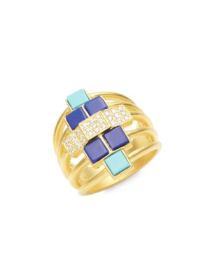 14K YELLOW GOLD & CUBIC ZIRCONIA BRICKED LAPIS RING