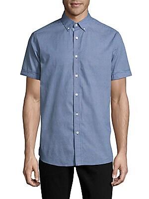 Textured Casual Button-Down Cotton Shirt