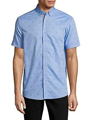 Arrow-Print Cotton Casual Button-Down Shirt