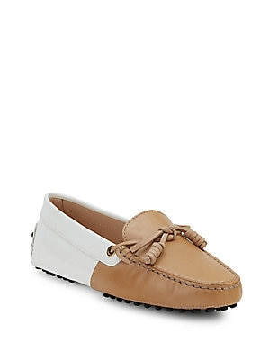 Two-Tone Leather Moccasins