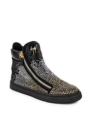 Sequined Leather High-Top Sneakers