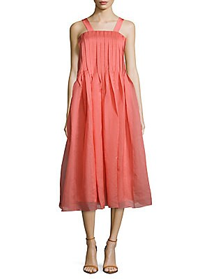 Squareneck Pleated Dress