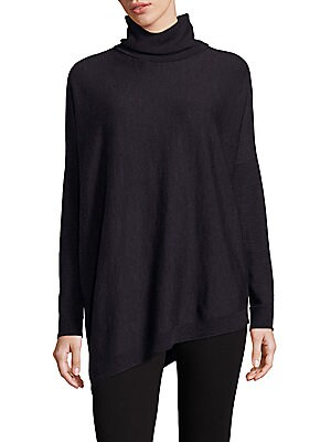 Merino Wool Asymmetrical Turtleneck Sweater