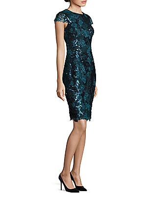 Capsleeve Metallic Lace Sheath Dress