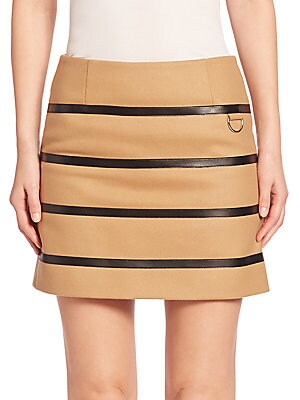 Faux Leather Striped Wool-Blend Skirt