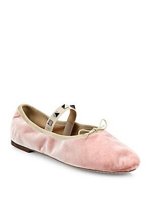 Rockstud Velvet Ballet Flats