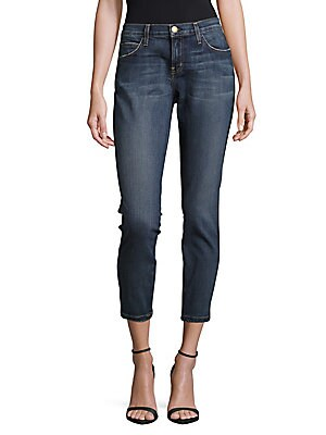 Cotton-Blend Cropped Jeans