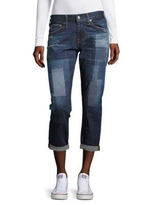 Printed Cropped Denim Pants