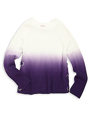 Girl's Lace-Up Dip-Dye Sweater